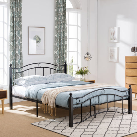 Iron Queen Bed Frame with Finial-Topped Legs - NH756603