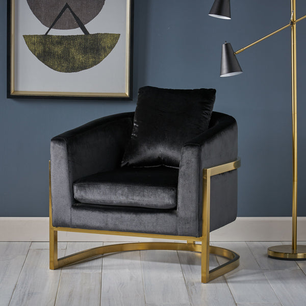 Modern Velvet Glam Armchair with Stainless Steel Frame - NH809803