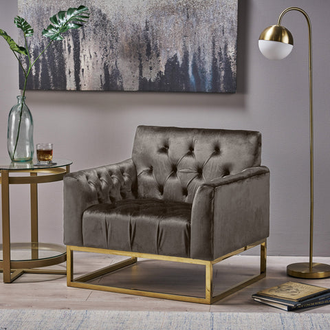 Modern Glam Button Tufted Diamond Stitch Velvet Club Chair with Gold Frame - NH376703