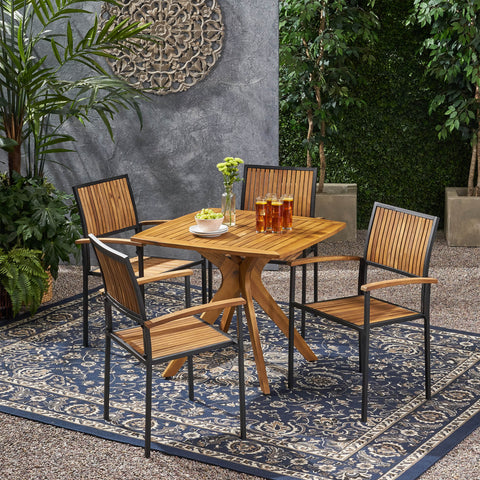 Outdoor 4 Seater Acacia Wood Square Dining Set - NH517903