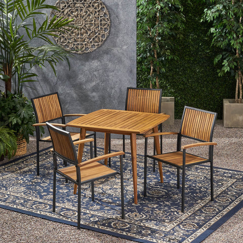 Outdoor 4 Seater Acacia Wood Square Dining Set - NH917903