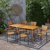 Outdoor 6 Seater Acacia Wood Dining Set - NH317903