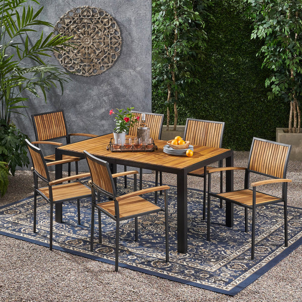 Outdoor 6 Seater Acacia Wood Dining Set with an Iron Frame - NH117903