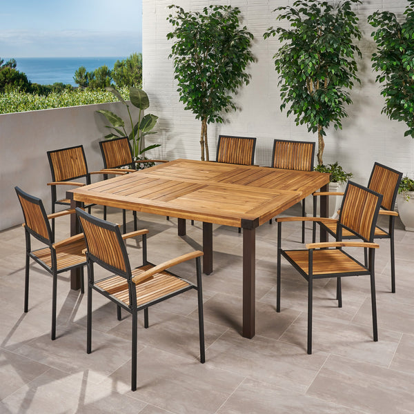 Outdoor 8 Seater Acacia Wood Dining Set - NH777903