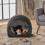 Wicker Igloo Cushioned Pet Bed - NH972603