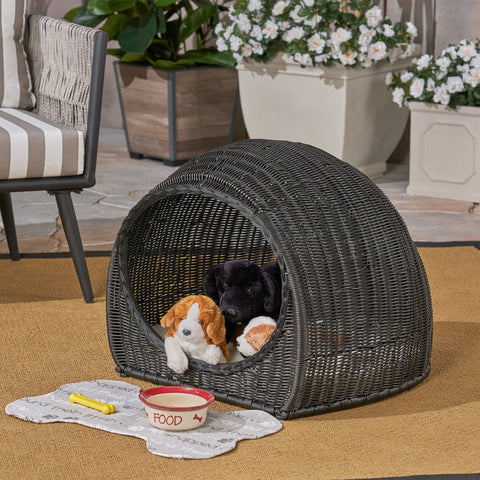 Outdoor Wicker Igloo Cushioned Pet Bed - NH872603