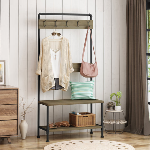 Indoor Industrial Acacia Wood Bench with Shelf and Coat Hooks - NH274503