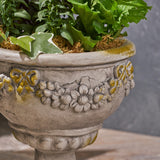 Garden Urn Planter, Roman, Botanical, Lightweight Concrete - NH174703