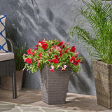 Garden Urn Planter, Square, Tapered, Riveted, Lightweight Concrete - NH814703