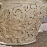 Garden Urn Planter Pot, Round, Roman, Botanical, Lightweight Concrete - NH424703