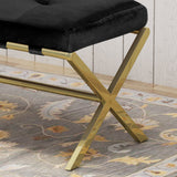 Cushioned Bench, Velvet, Gold Chrome Iron Cross Legs, Glam, Button-Tufted - NH924703