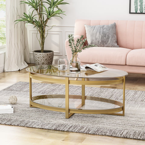 Modern Glam Tempered Glass Oval Coffee Table with Iron Frame - NH766603