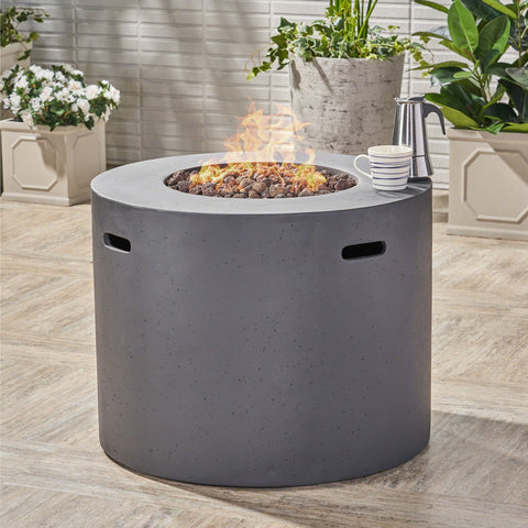 Outdoor 31-inch Round Light Weight Concrete Gas Burning Fire Pit - NH180503