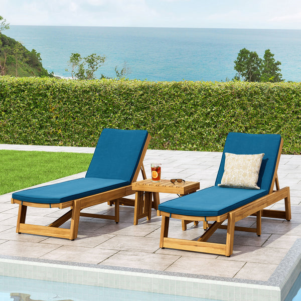 Outdoor Acacia Wood 3 Piece Chaise Lounge Set with Water-Resistant Cushions - NH927213