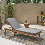 Outdoor Acacia Wood Chaise Lounge and Cushion Set - NH787903