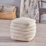 Handcrafted Boho Fabric Cube Pouf - NH150603