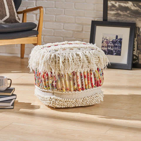 Handcrafted Boho Fabric Pouf - NH350603