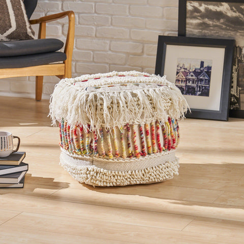 Boho Wool Pouf, Ivory and Multi-Colored - NH350603