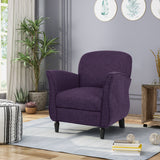 Contemporary Upholstered Tweed Fabric Armchair with Piped Edges - NH734603