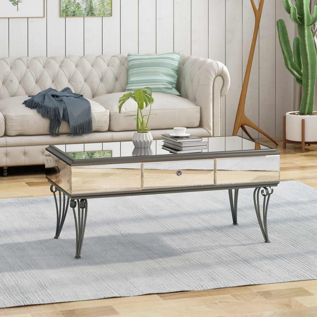 Modern Style mirrored Coffee Table With Drawers Living Room Furniture