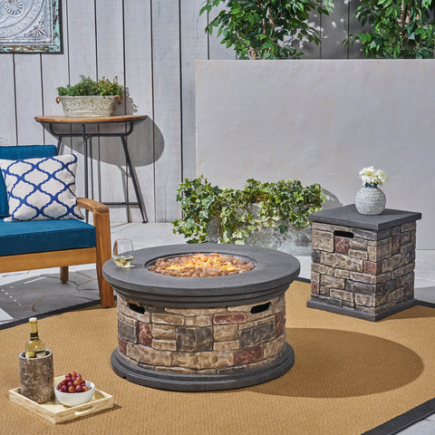 "Outdoor 32"" Round Light Weight Concrete Fire Pit - 40,000 BTU, Mixed Brown - NH308703"