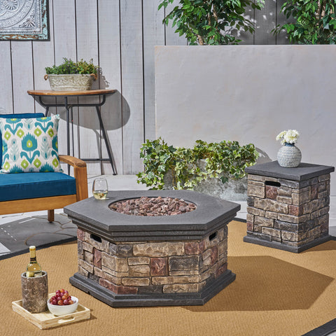 "Outdoor 32"" Octagonal Light Weight Concrete Fire Pit - 40,000 BTU, Mixed Brown - NH408703"