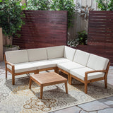 Outdoor Acacia Wood 5 Seater Sectional Sofa Set with Coffee Table - NH935603