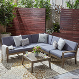 Outdoor Acacia Wood 5 Seater Sectional Sofa Set with Coffee Table - NH245603