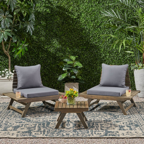 Outdoor 2 Seater Acacia Wood Club Chairs and Side Table Set - NH956903