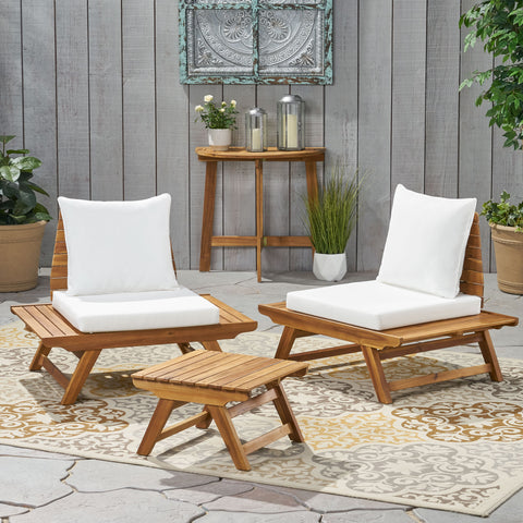 Outdoor 2 Seater Acacia Wood Club Chairs and Side Table Set - NH566903