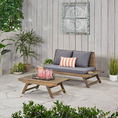 Outdoor 2 Seater Acacia Wood Loveseat and Coffee Table Set - NH856903