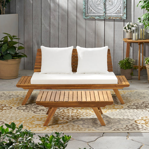 Outdoor 2 Seater Acacia Wood Loveseat and Coffee Table Set - NH466903