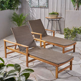 Outdoor Rustic Acacia Wood Chaise Lounge with Wicker Seating - NH609603