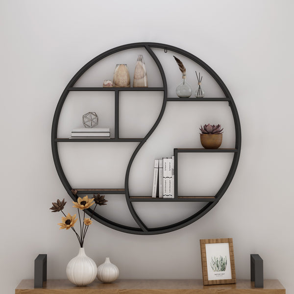 Industrial Wall Mount Round Yin Yang Floating Shelf - NH001903