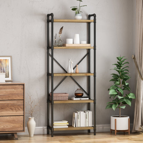 Industrial Pipe Design 5-Shelf Etagere Bookcase - NH602903