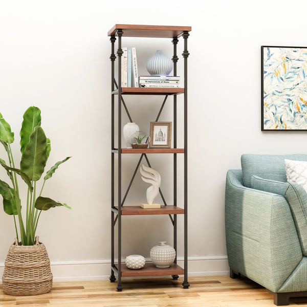 4-Shelf Metal & Wood Etagere Bookcase - NH212903