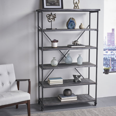 Industrial Design 5-Shelf Etagere Bookcase On Wheels - NH732903