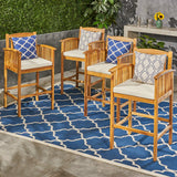 "Acacia Patio Bar Stools, 46"", Bar-Height, Acacia Wood, Natural Stain with Cream Cushions (Set of 4) - NH135703"