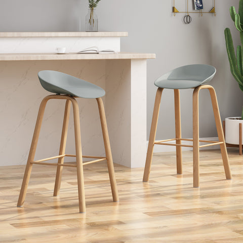 "30"" Modern Barstool with Iron Legs (Set of 2) - NH259803"