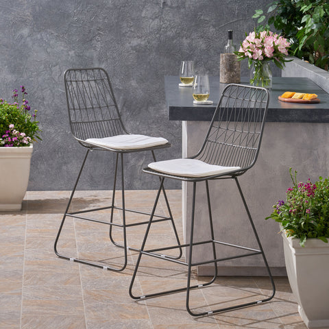 "Outdoor 26"" Seats Iron Counter Stools with Cushions (Set of 2) - NH895703"