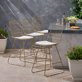 "Outdoor 26"" Seats Iron Counter Stools with Cushions (Set of 4) - NH806703"