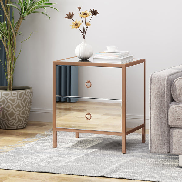 Glam Mirrored 2 Drawer Cabinet - NH642803