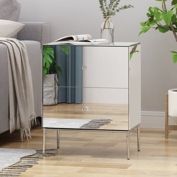 Modern Mirrored Two Drawer Cabinet - NH982803