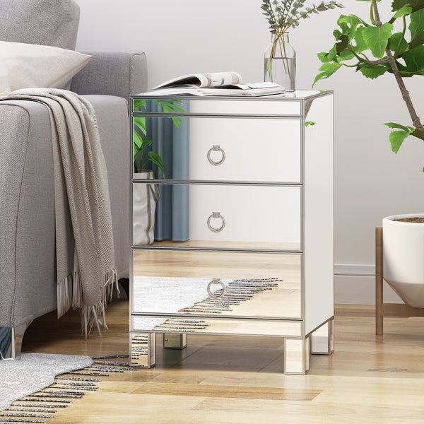Modern Mirrored 3 Drawer Cabinet - NH842803