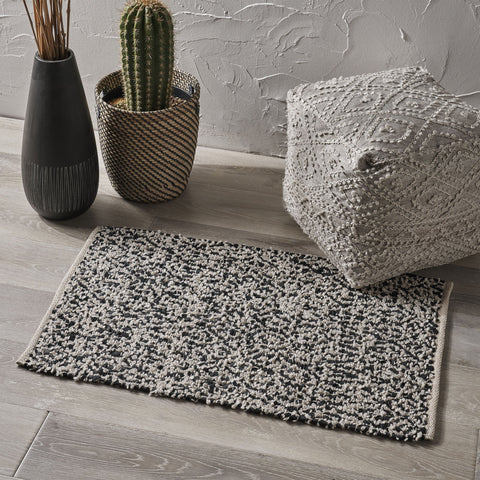 Boho Leather and Cotton Scatter Rug - NH536803
