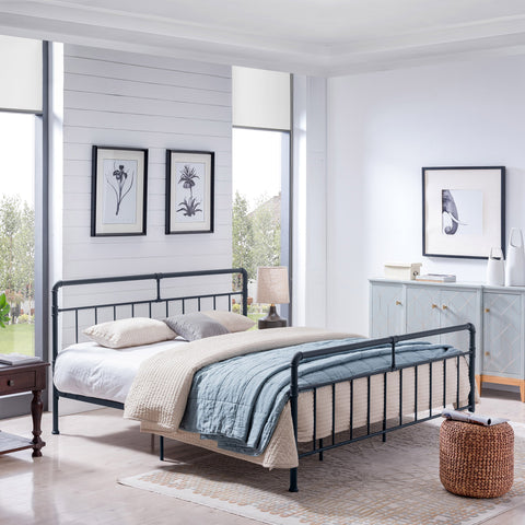 Queen-Size Iron Bed Frame, Minimal, Industrial - NH454703