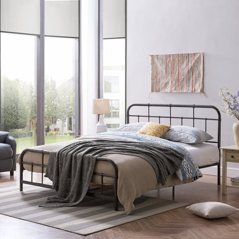 Queen-Size Iron Bed Frame, Minimal, Industrial - NH954703
