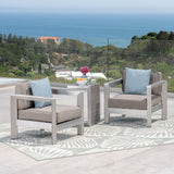3-piece Outdoor Aluminum Club Chairs with Side Table - NH084603
