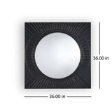 Modern Square Tempered Glass and Iron Metal Wall Mirror - NH097803