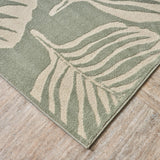 Outdoor Modern Frond Leaf Green And Ivory Rectangular Area Rug - NH929403